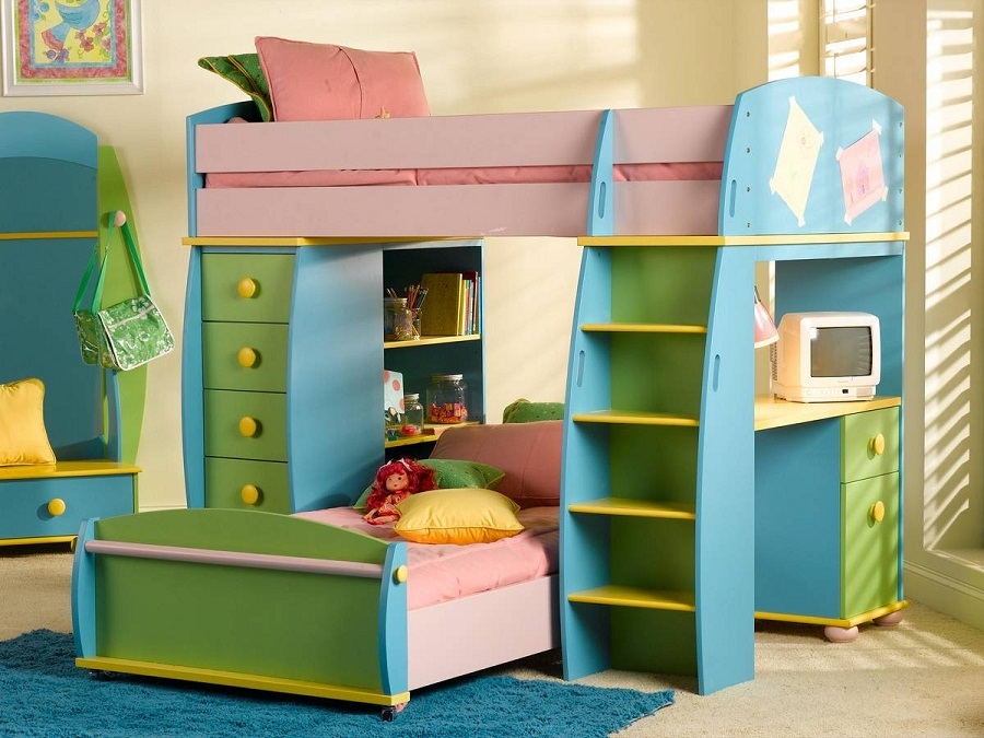 Image of: Girls Kids Bunk Beds with Desk