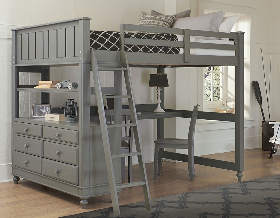 Image of: Grey Lofted Full Bed