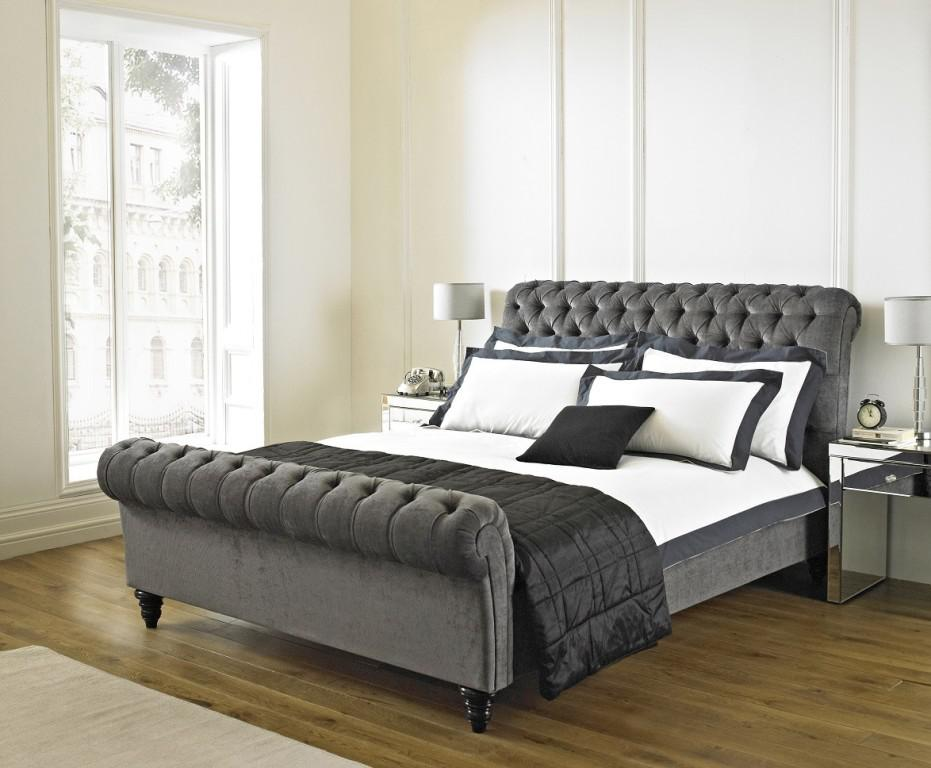 Image of: Grey Upholstered King Bed