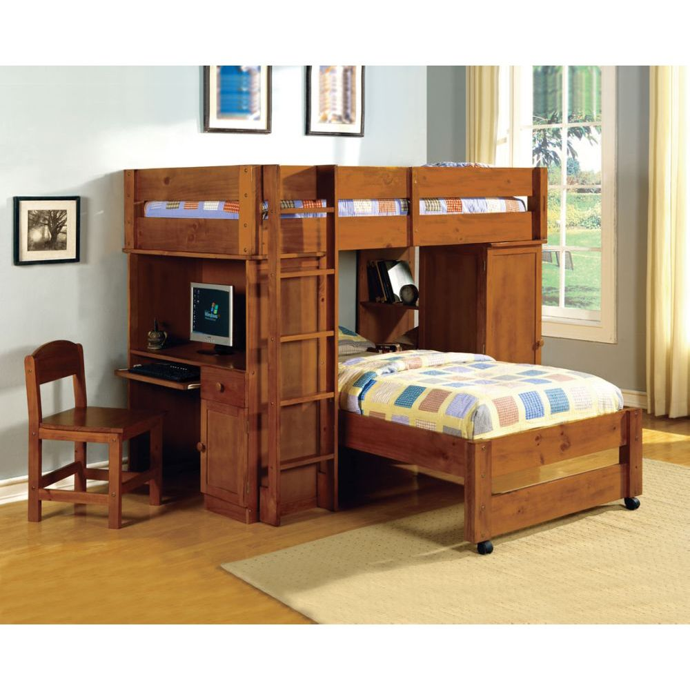 Image of: Kids Bunk Beds with Desk and Chairs
