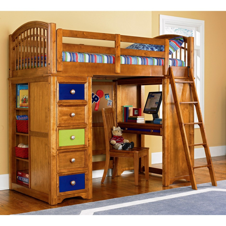 Image of: Kids Bunk Beds with Desk and Ladder