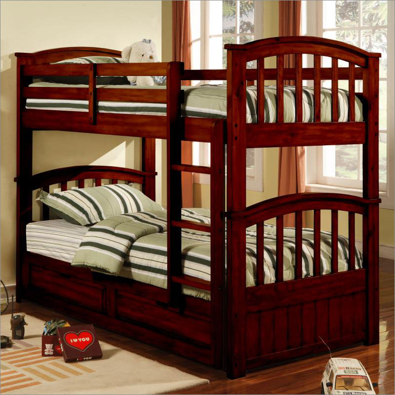 Image of: Ladder Bunk Beds Twin over Twin