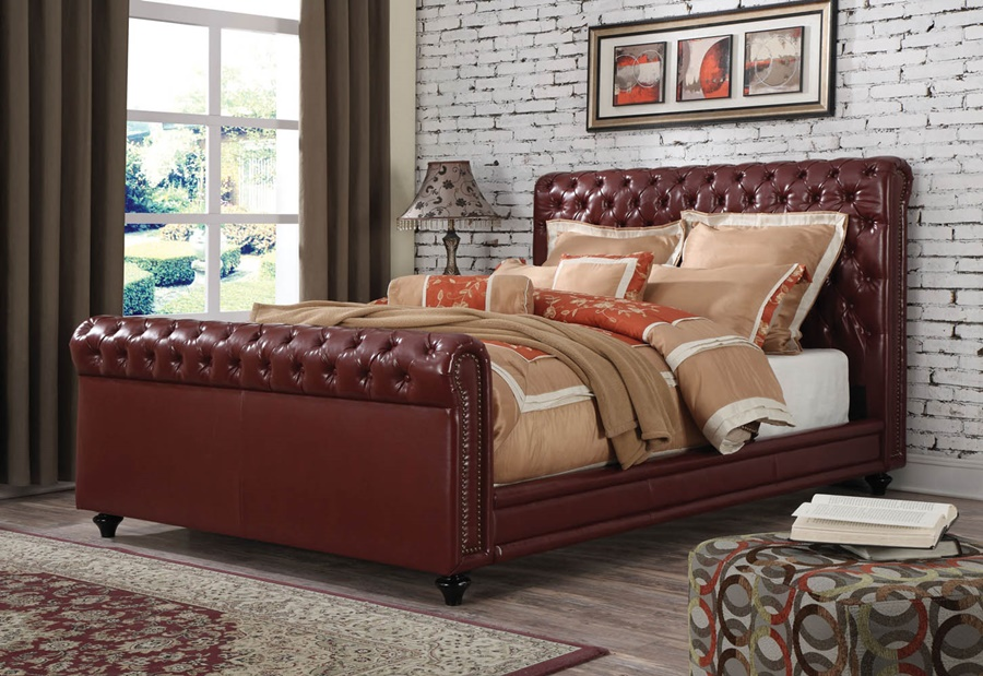 Image of: Leather Eastern King Bed Frame