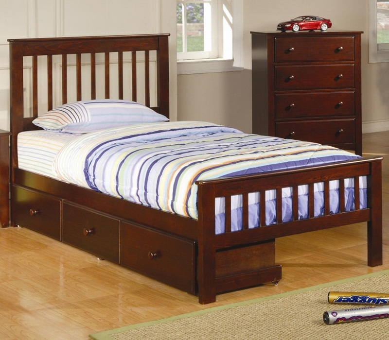 Image of: Nice Twin Bed With Drawers Underneath