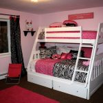 Pink Loft Bed with Desk and Stairs