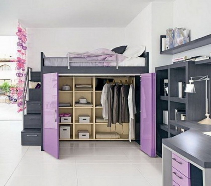 Image of: Purple Chelsea Vanity Loft Bed