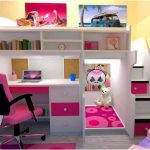 Simple Loft Bed with Desk and Stairs