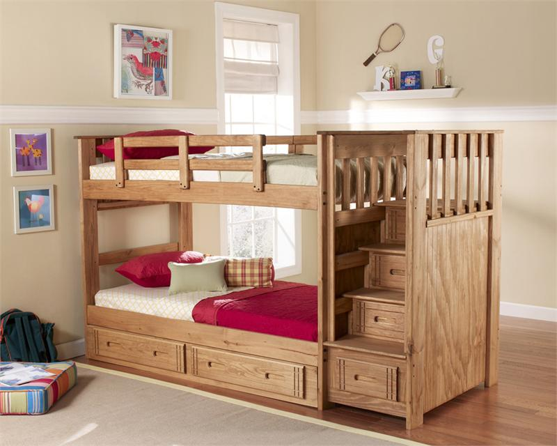Image of: Solid Wood Bunk Bed Stairs