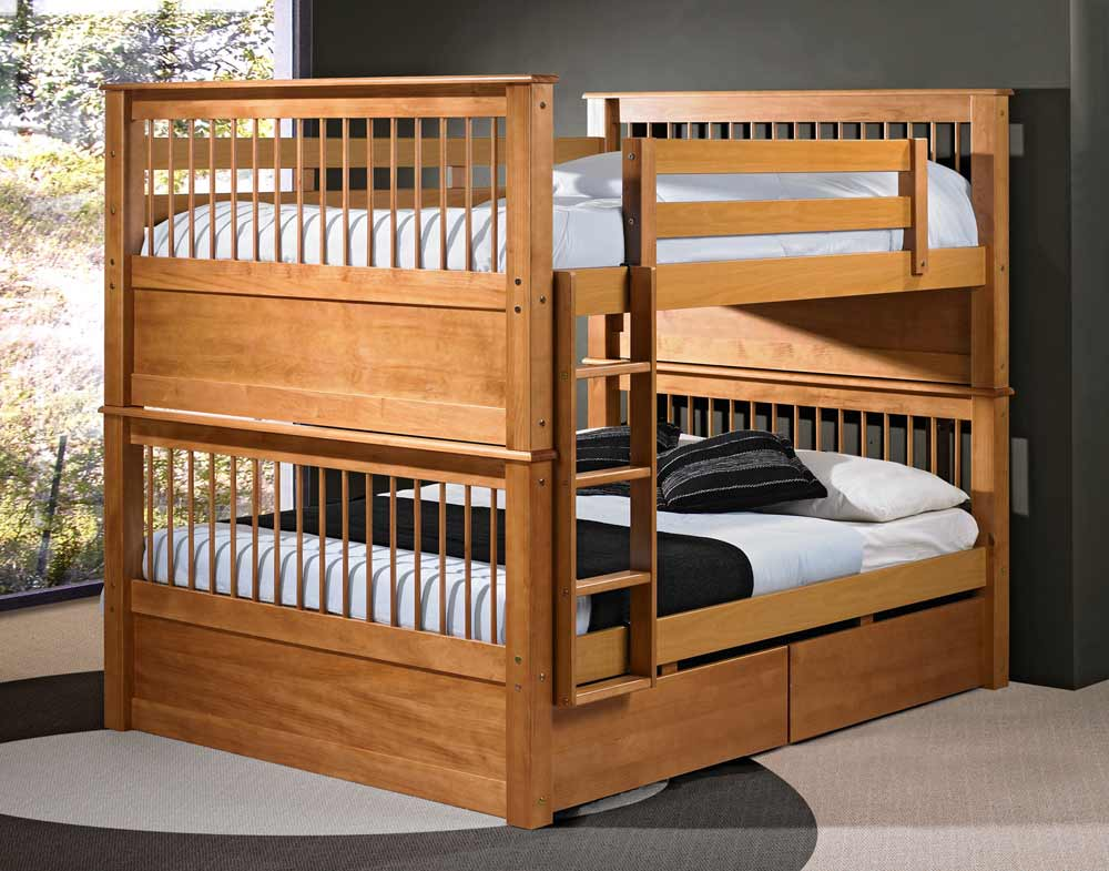 Image of: Solid Wood Bunk Bed for Adults