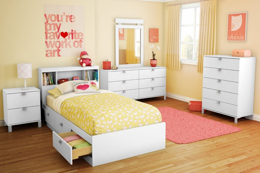 Image of: Solid Wood Twin Bed and Bookcase