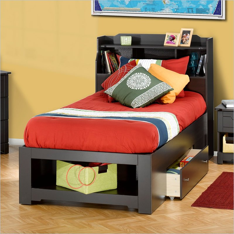 Image of: Twin Bed Frames With Storage With Bookcase Headboard
