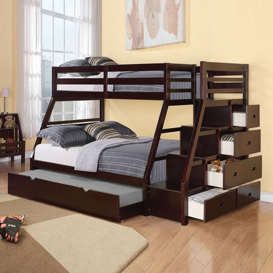 Image of: Twin Full Bunk Beds With Stairs And Trundle