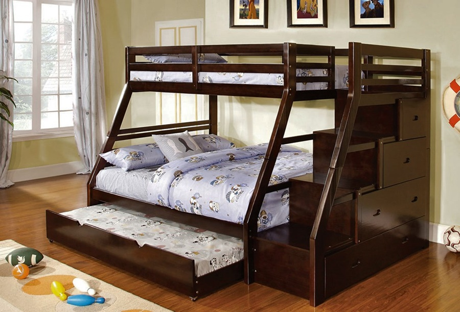 Image of: Twin Full Bunk Beds With Stairs For Boy
