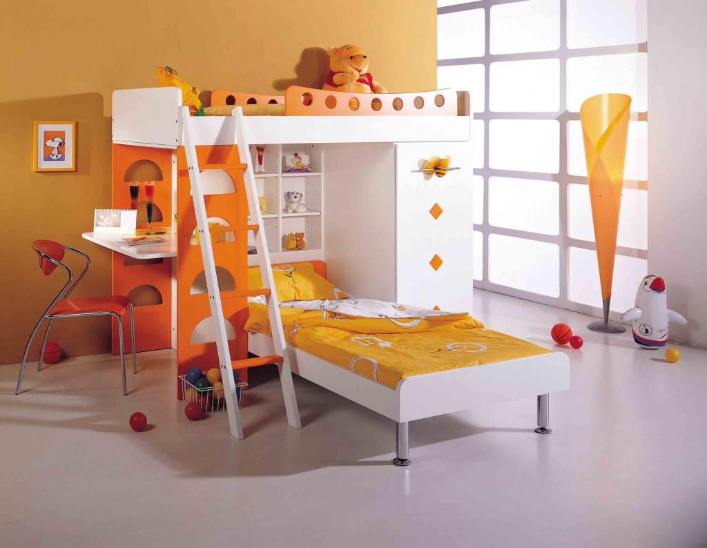 Image of: Twin Kids Bunk Beds with Desk