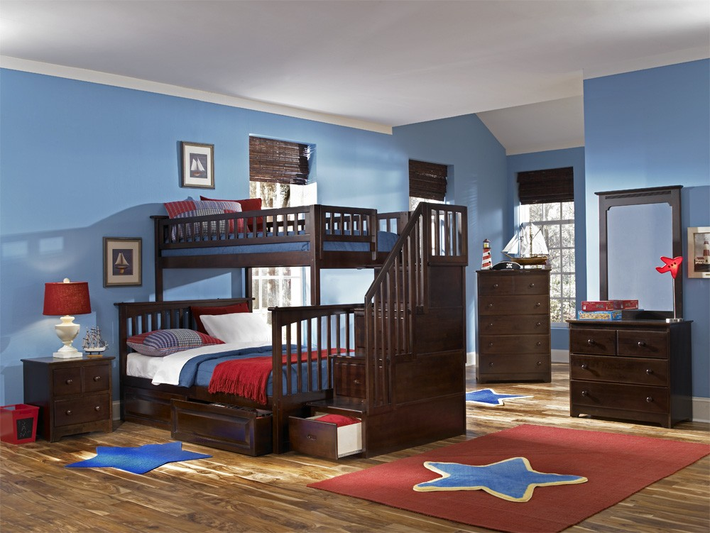 Image of: Twin Over Full Bunk Bed Stairs