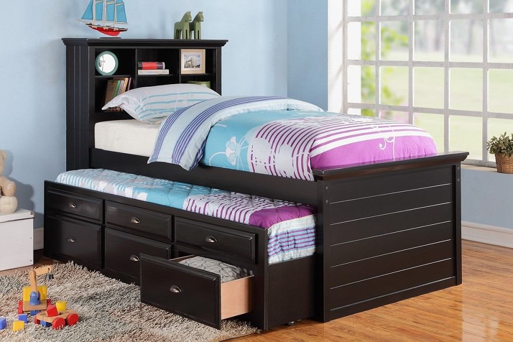 Image of: Twin Trundle Beds Black