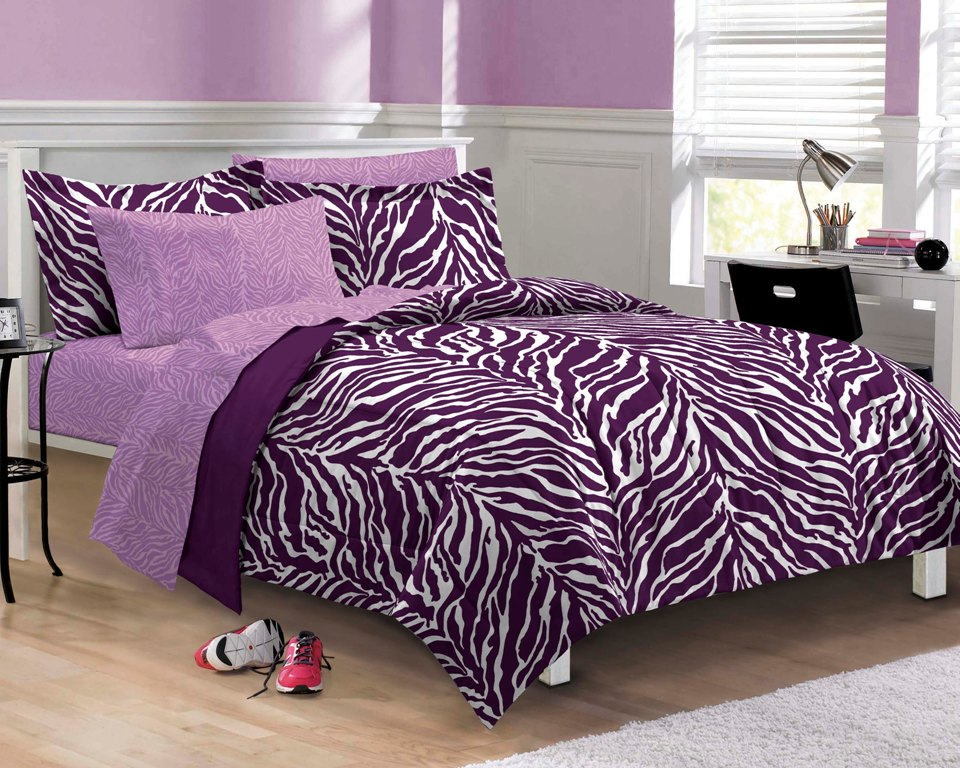 Image of: Twin Xl Beds Purple Zebra