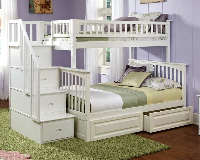 Image of: White Bunk Bed Stairs