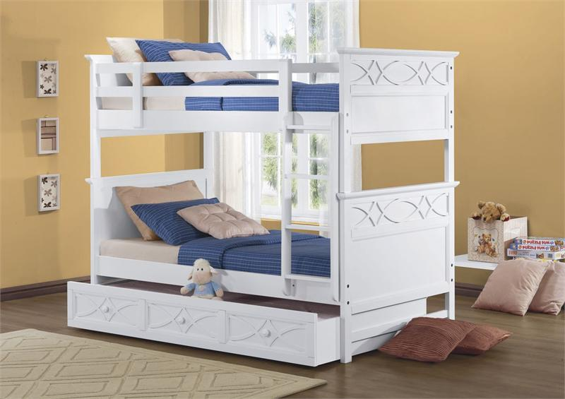 Image of: White Bunk Beds Twin over Twin