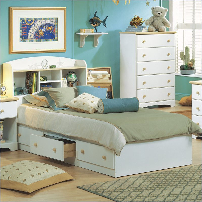Image of: White Twin Bed Frames With Storage