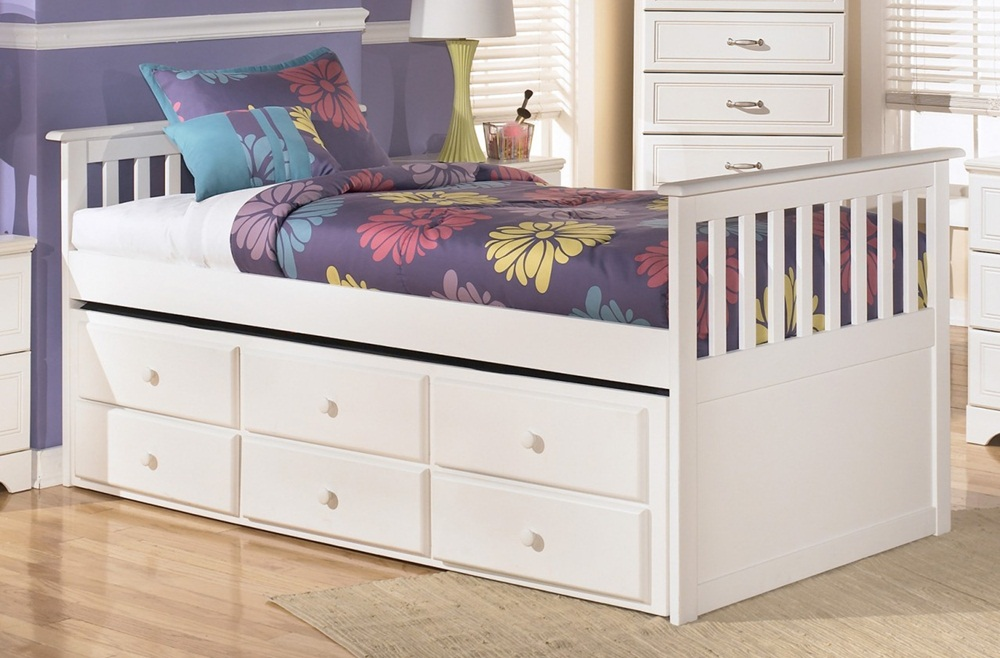 Image of: White Twin Bed With Drawers Underneath