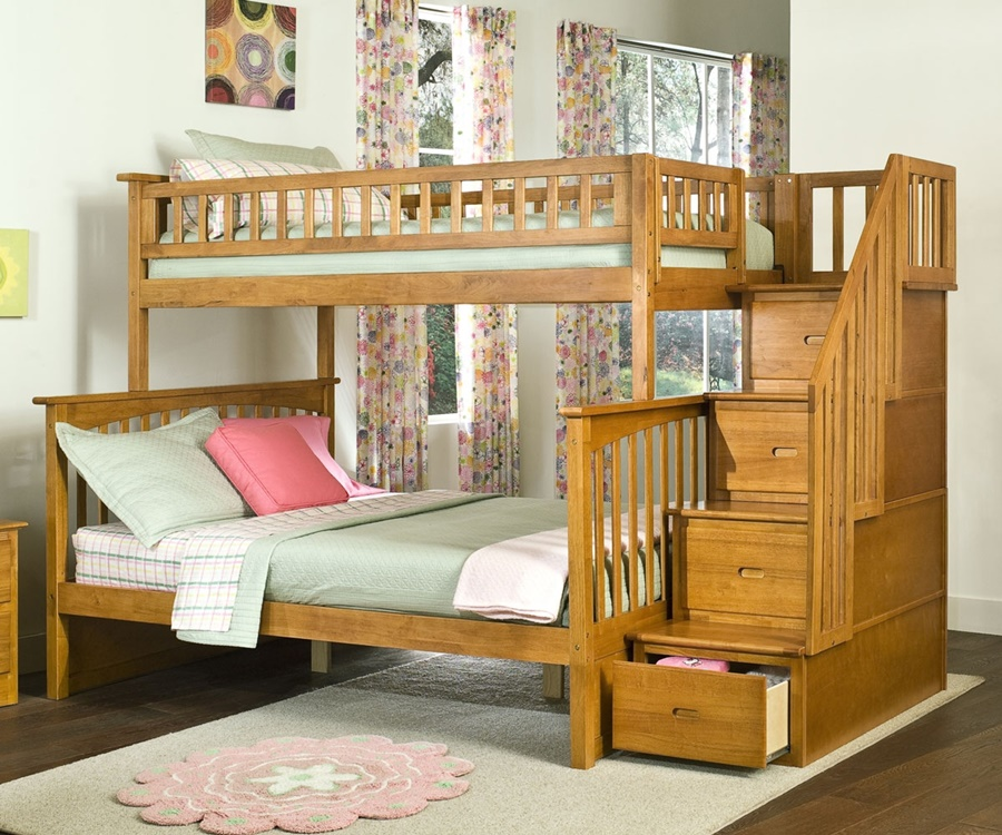 Wooden Twin Full Bunk Beds With Stairs