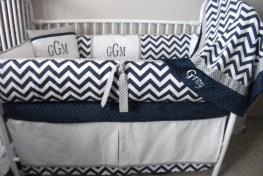 Image of: Blue Chevron Baby Bedding