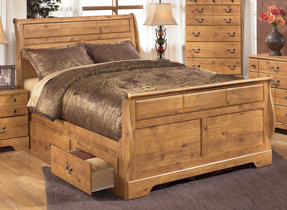 Image of: Brown King Size Storage Bed