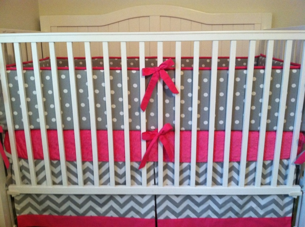 Image of: Chevron Baby Bedding Grey and White Color