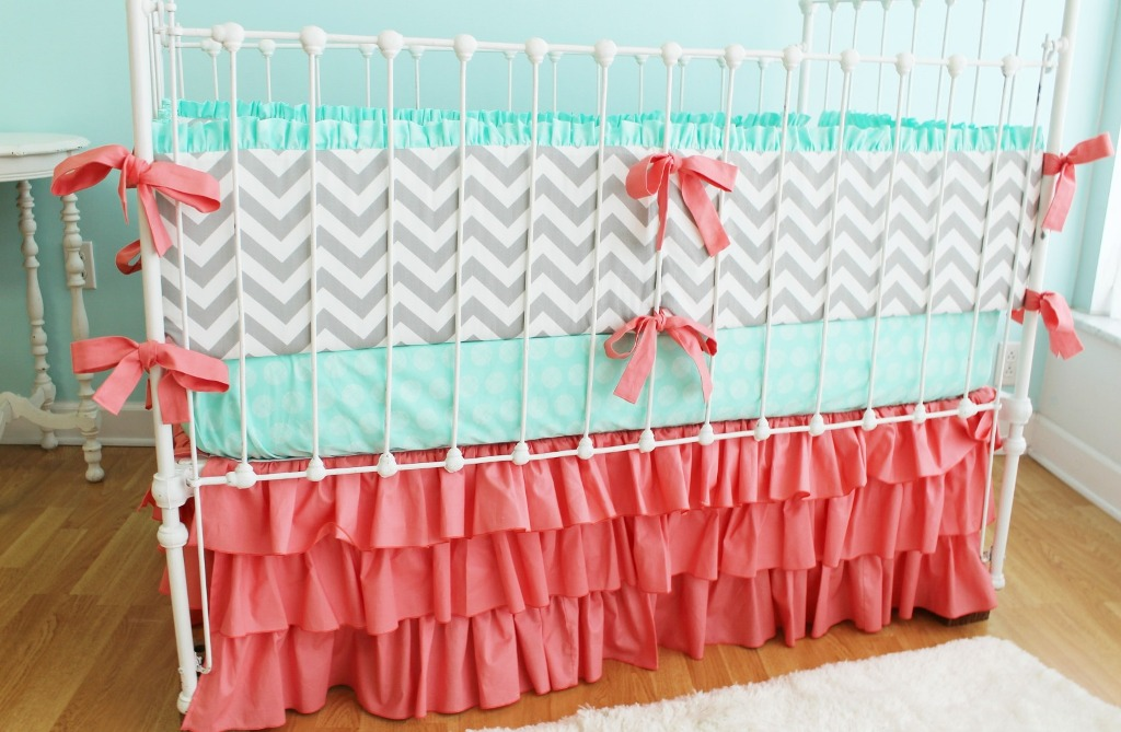 Image of: Chevron Baby Bedding and Mint