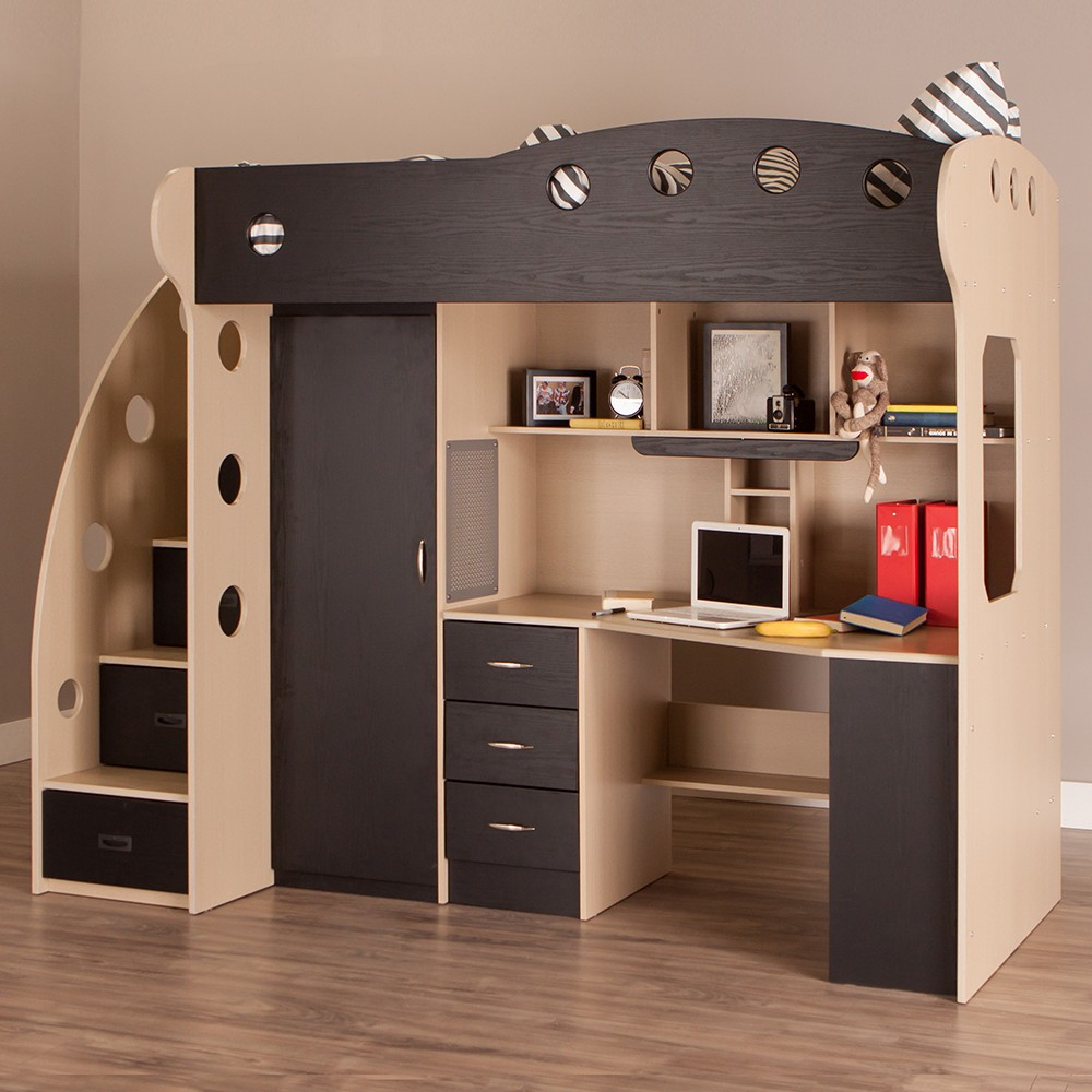 Image of: Cool Bunk Bed with Desk and Couch