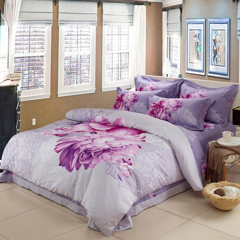 Image of: Dorm Room Bedding Sets Violets Flower