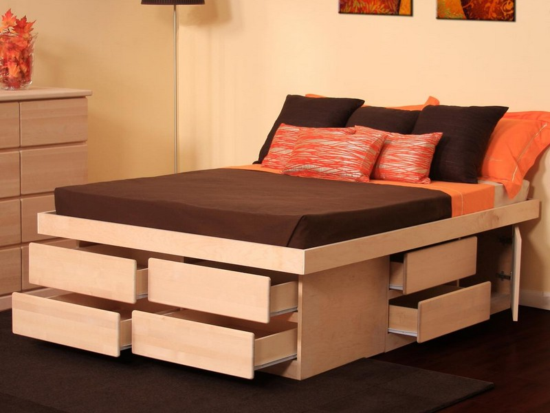 Image of: Queen Storage Bed Drawers