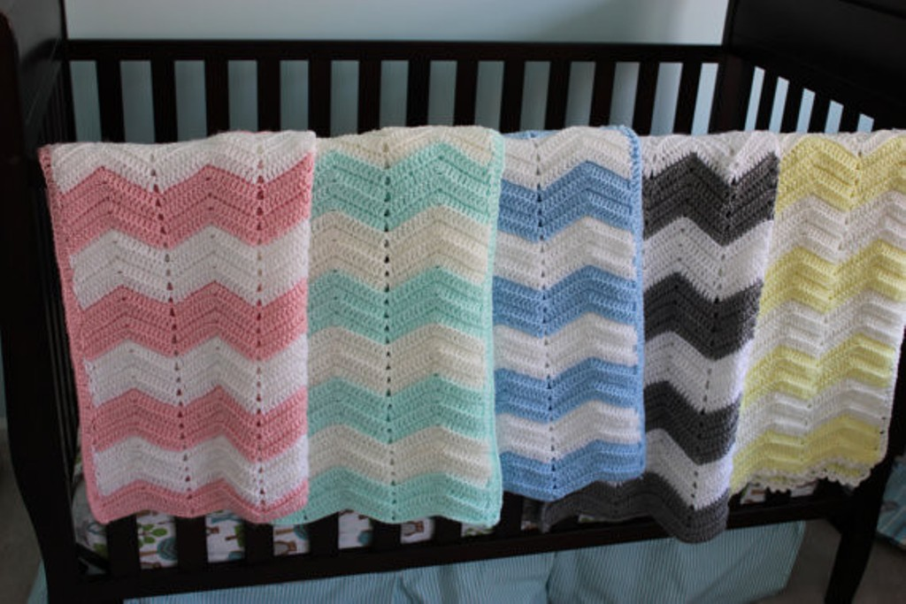 Image of: Red Chevron Baby Bedding