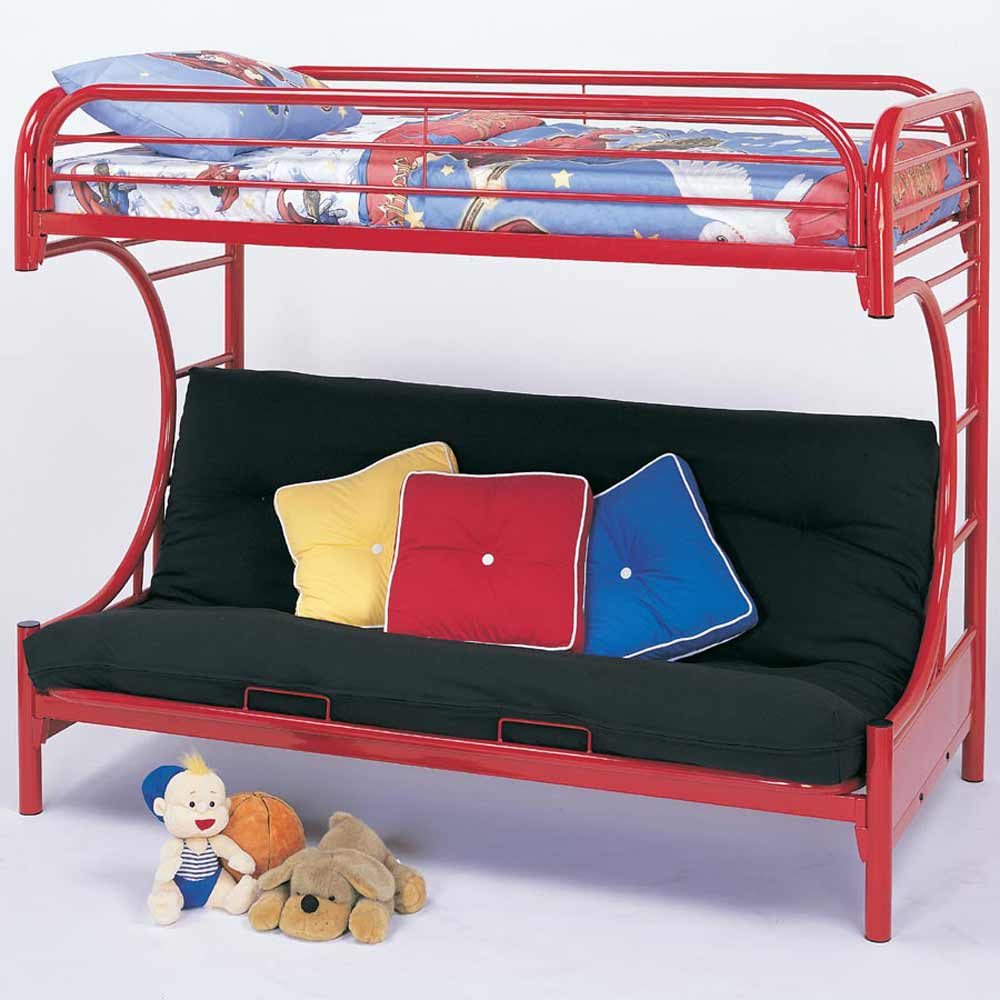 Image of: Red Futon Couch Bunk Bed