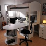 Style Bunk Bed with Desk and Couch