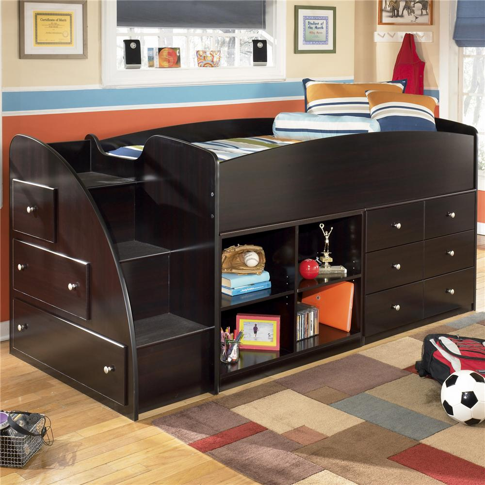 Image of: Twin Beds With Storage Black Dark