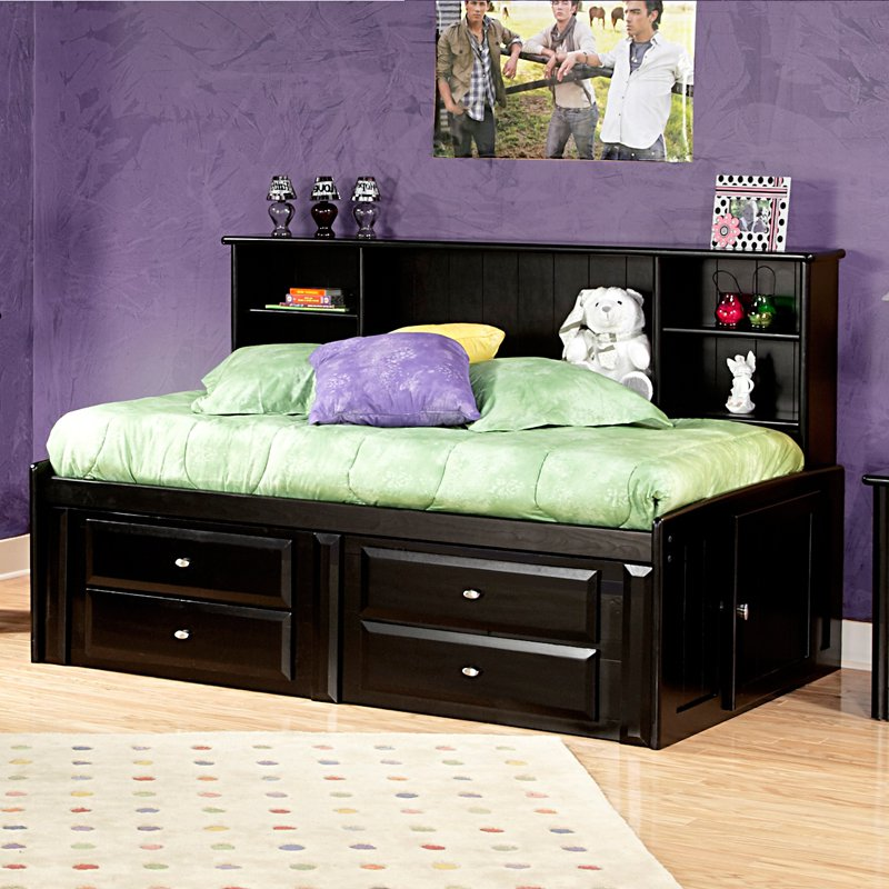 Image of: Twin Beds With Storage Black