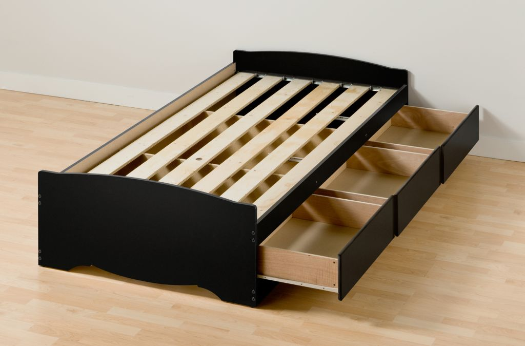 Image of: Twin Platform Bed with Storage Black