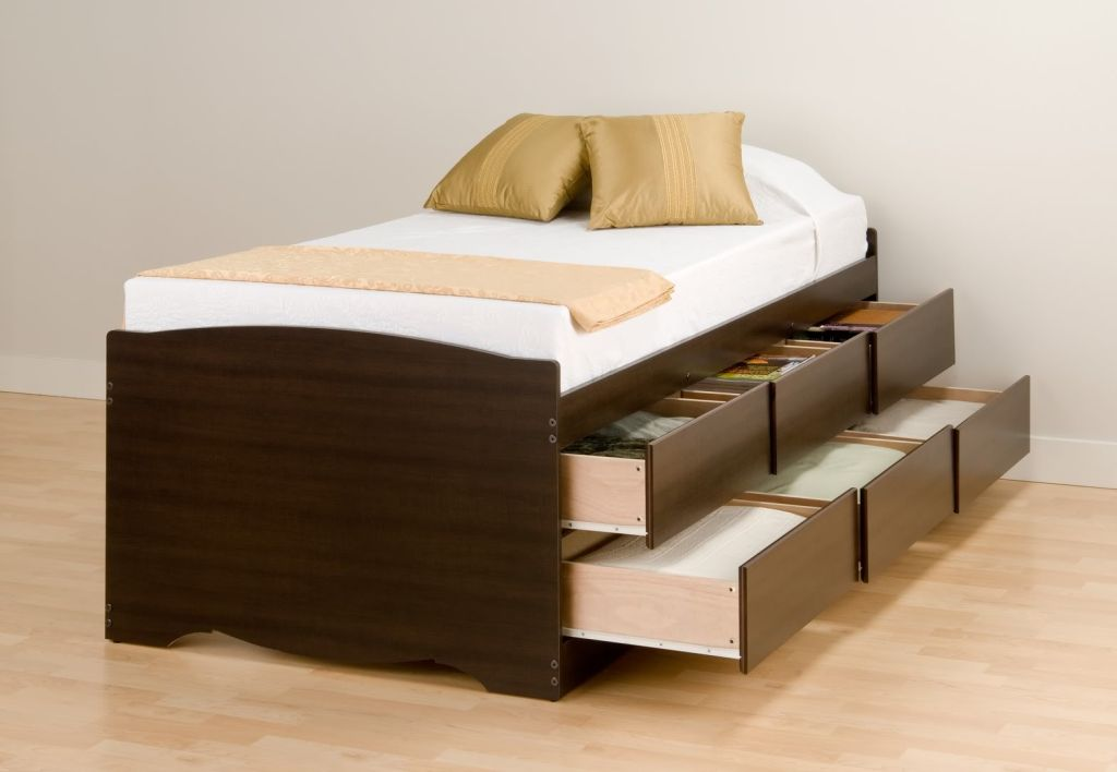 Image of: Twin Platform Bed with Storage Brown