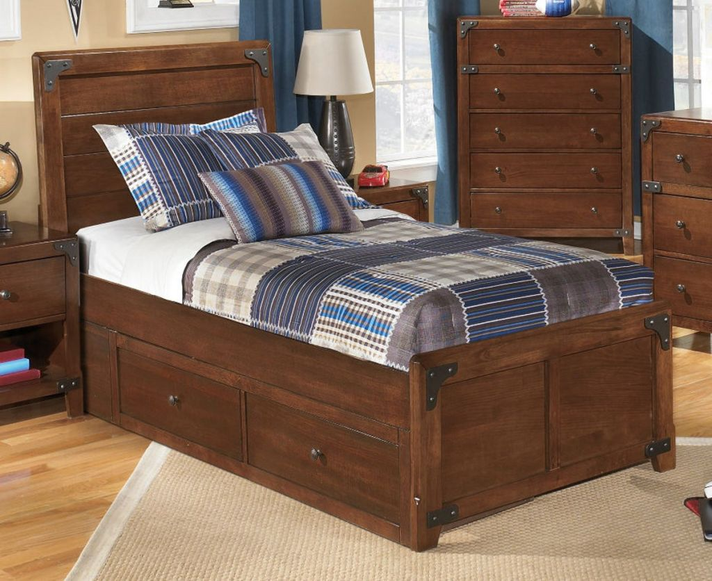 Twin Platform Bed with Storage Wood