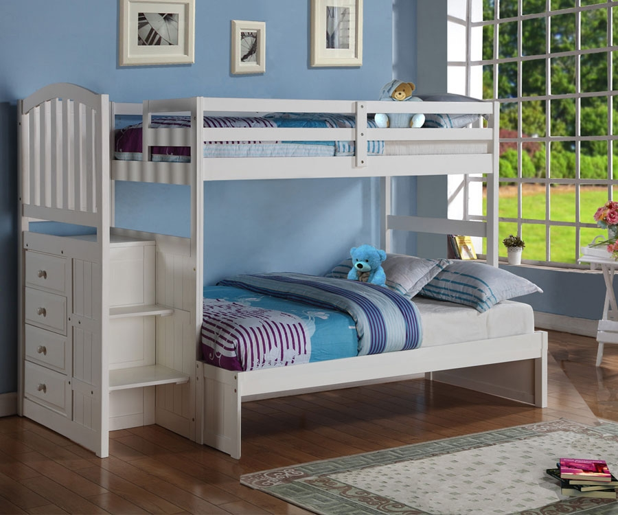 Image of: White Bunk Bed Twin Over Full