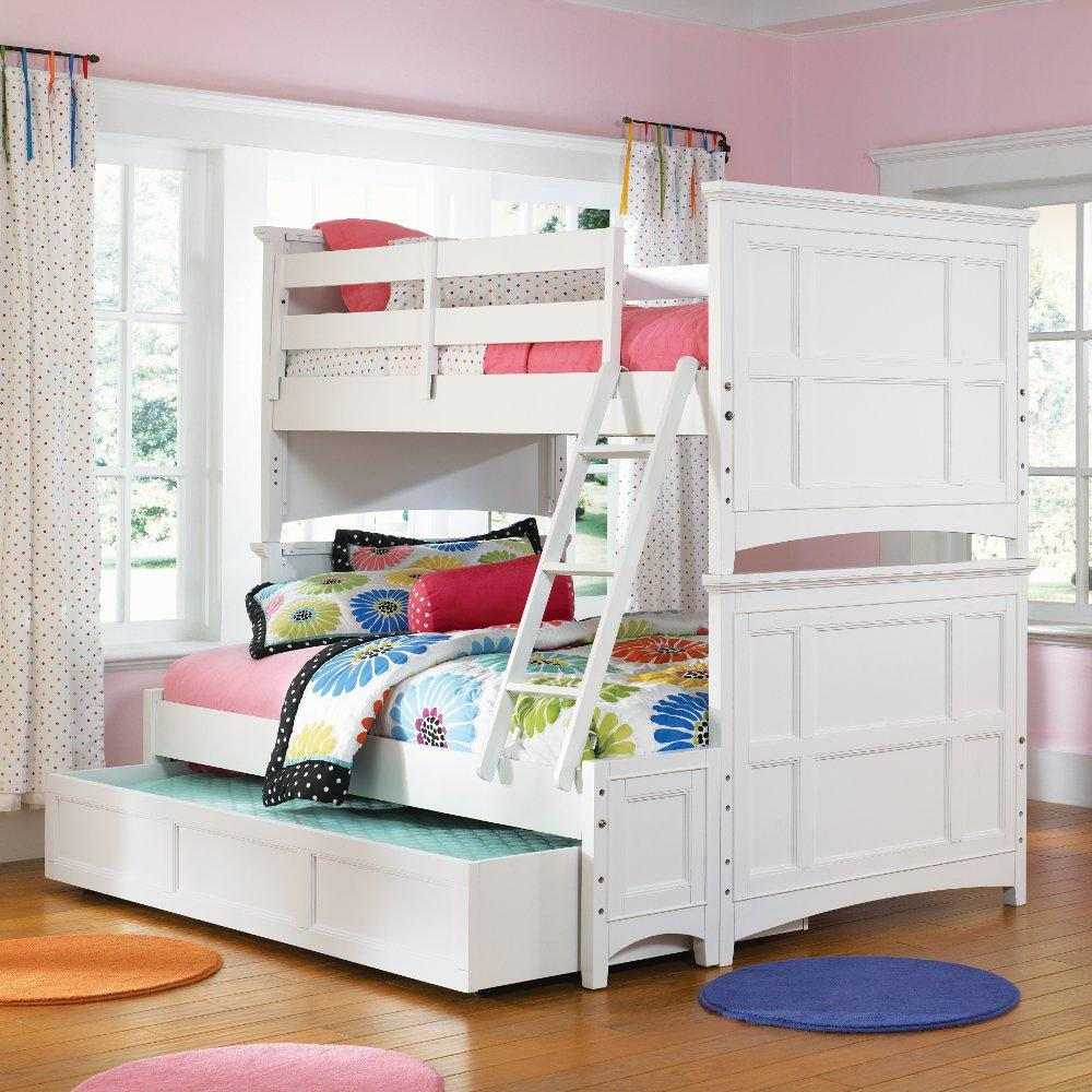 Image of: White Bunk Bed with Desk and Couch