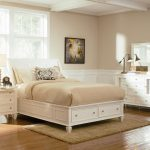 White Queen Platform Bed with Storage