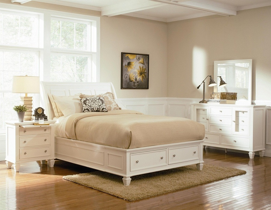 Image of: White Queen Platform Bed with Storage