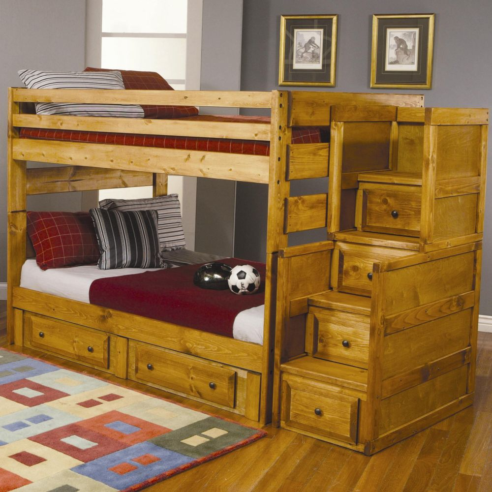 Wood Bunk Bed with Desk and Couch