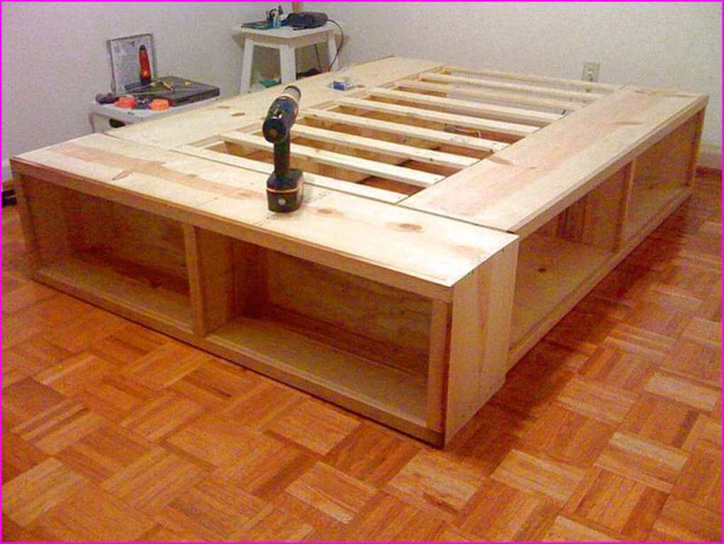 Image of: Bed Frame With Drawers Full