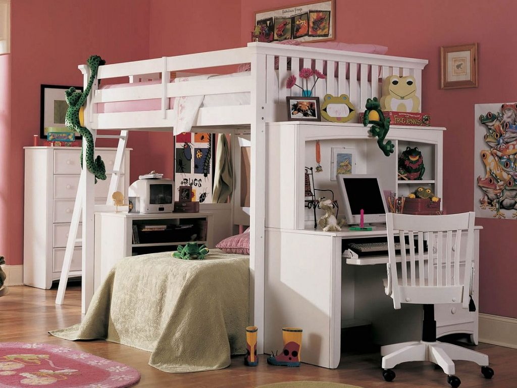 Image of: Bunk Bed Loft White