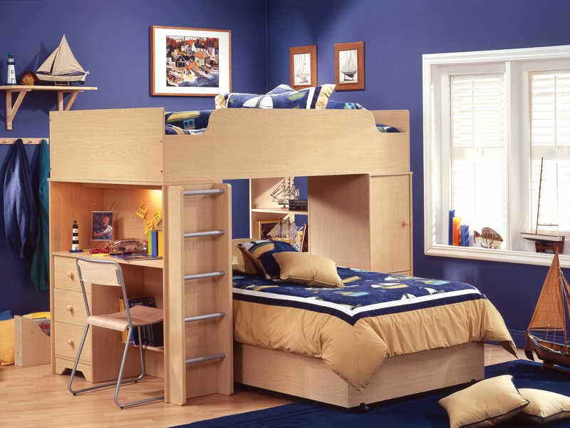 Double Loft Bed with Desk Underneath
