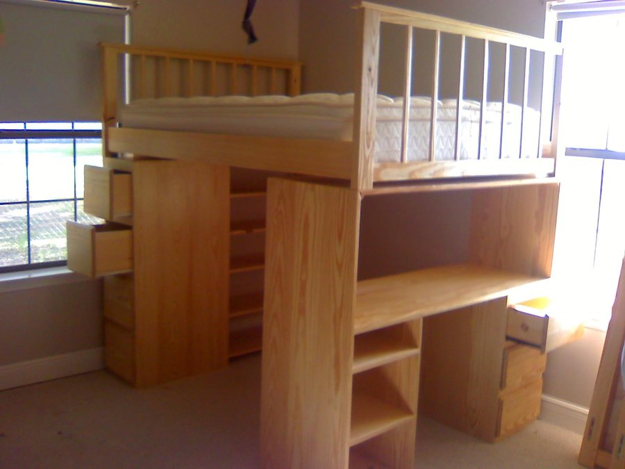 Image of: Full Size Loft Bed With Stairs And Dresser